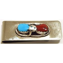 Zuni Coral & Turquoise Sterling Silver Snake Money Clip - Effie Calavaza