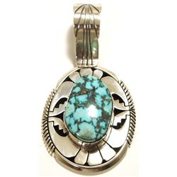 Navajo Spider Web Turquoise Sterling Silver Pendant - Eugene Belone