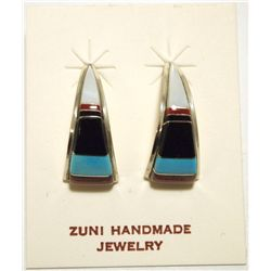 Zuni Multi-Stone Inlay Sterling Silver Curved Post Earrings - C.S. Lonjose