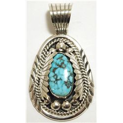 Navajo Spider Web Kingman Turquoise Sterling Silver Pendant - Mary Ann Spencer