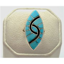 Zuni Turquoise Sterling Silver Women's Ring - Amy Quandelacy