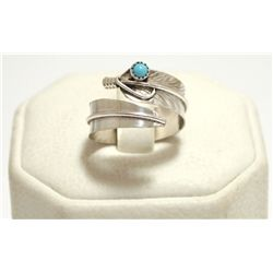 Navajo Turquoise Sterling Silver Feather Adjustable Women's Ring - Chris Charley