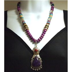 Navajo Spiny Oyster &  Multi-Stone Sterling Silver Necklace - Tommy Singer