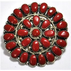 Navajo Coral Cluster Sterling Silver Pendant & Pin - Juliana Williams