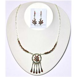 Zuni Coral Hanger Pendant Necklace & Earrings Set