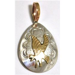 Navajo 12k Gold Filled Flying Eagle Sterling Silver Pendant - Roger Jones