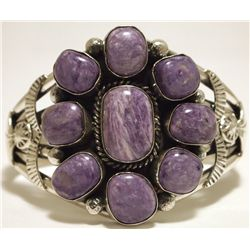 Navajo Charoite Sterling Silver Cuff Bracelet - Mary Ann Spencer