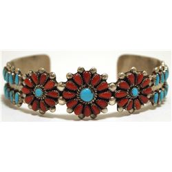 Old Pawn Zuni Coral & Turquoise Sterling Silver Cuff Bracelet - Irene Paylusi
