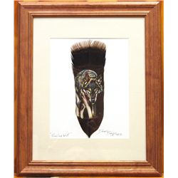 Navajo Prowling Wolf Feather Painting - Donovan Begay