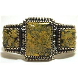 Old Pawn Navajo Yellow Spider Web Kingman Turquoise Sterling Silver Cuff Bracelet - Kirk Smith