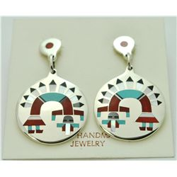 Zuni Multi-Stone Rainbow Kachina Earrings - Fred & Lolita Natachu