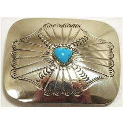 Navajo Turquoise Sterling Silver Buckle - Joann Silver