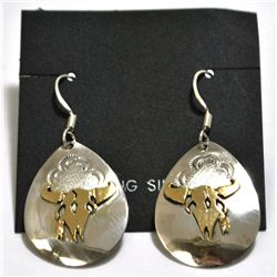 Navajo 12k Gold Filled Bull Skull Sterling Silver French Hook Earrings - Roger Jones