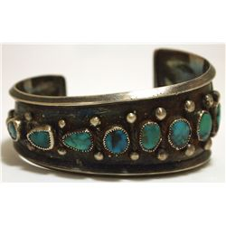 Vintage Old Pawn Navajo Turquoise Sterling Silver Tapering Cuff Bracelet