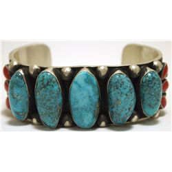 Navajo Coral & Morenci Turquoise Sterling Silver Cuff Bracelet - Nelvin Burbank