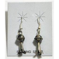 Navajo Squash Blossom Sterling Silver French Hook Earrings - Phil & Lenore Garcia