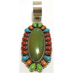 Old Pawn Navajo Multi-Stone Sterling Silver Pendant - Kirk Smith