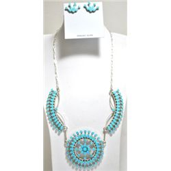 Zuni Turquoise Sterling Silver Necklace & Earrings Set - Fadrian & Vivica Bowannie