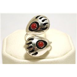 Navajo Coral Sterling Silver Bear Paw Adjustable Women's Ring - Joey McCray