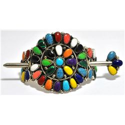 Navajo Multi-Stone Cluster Sterling Silver Hair Barrette - Juliana Williams
