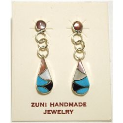 Zuni Multi-Stone Inlay Sterling Silver Teardrop Post Earrings - Sarah Bawani