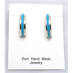 Zuni Turquoise Small Half-Ring Earrings