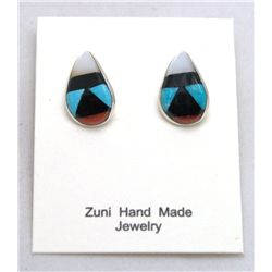 Zuni Multi-Stone Curved Teardrop Earrings