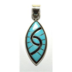 Zuni Onyx and Turquoise Sharp Oval Pendant - Amy Quandelacy