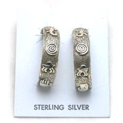 Navajo Sterling Silver Large Half-Ring Earrings - Scott Skeets