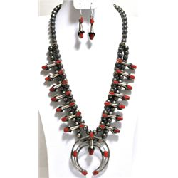 Navajo Coral Squash Blossom Sterling Silver Necklace & Earrings Set - Phil & Lenore Garcia