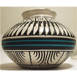 Navajo Etched & Hand Painted Pottery - Dewayne & Heather Eskeet