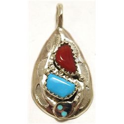 Zuni Coral & Turquoise Sterling Silver Snake Pendant - Effie Calavaza