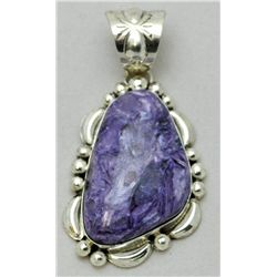 Navajo Charoite Medium Sterling Silver Pendant - Mary Ann Spencer