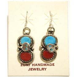 Zuni Coral & Turquoise Sterling Silver Snake French Hook Earrings - Effie Calavaza