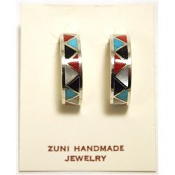 Zuni Multi-Stone Inlay Sterling Silver Half-Ring Post Earrings - Tina Haloo
