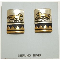 Navajo 12k Gold Fill over Sterling Silver Horses Post Earrings - Tommy Singer