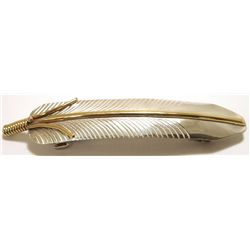 Navajo 12k Gold Fill over Sterling Silver Feather Hair Barrette - Virgil Reader