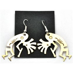 Navajo Brass Kokopelli Earrings - J.