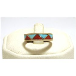Zuni Coral & Turquoise Inlay Sterling Silver Men's Ring - Carmichael Haloo