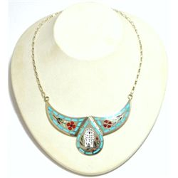 Zuni Multi-Stone Owl Sterling Silver Necklace - Dennis & Nancy Edaakie