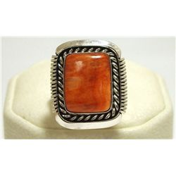 Navajo Spiny Oyster Sterling Silver Women's Ring - Eugene Belone