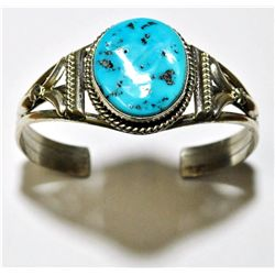 Navajo Sleeping Beauty Turquoise Sterling Silver Cuff Bracelet - Mary Ann Spencer