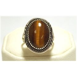 Navajo Tiger's Eye Sterling Silver Women's Ring - Herman Lee