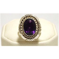Navajo Amethyst Sterling Silver Women's Ring - Eugene Belone