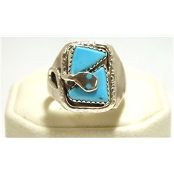 Navajo Turquoise Sterling Silver Snake Men's Ring - Effie Calavaza