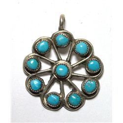 Zuni Turquoise Small Flower Pendant