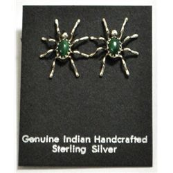Navajo Malachite Spider Sterling Silver Post Earrings - Anna Spencer