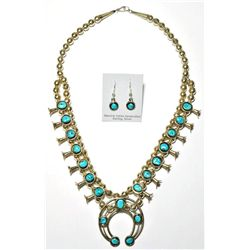 Navajo Sleeping Beauty Turquoise Large Necklace & Earrings Set - Phil & Lenore Garcia