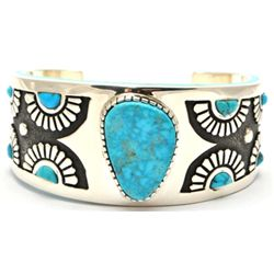 Navajo Turquoise Sterling Silver Cuff Bracelet - Michael Perry