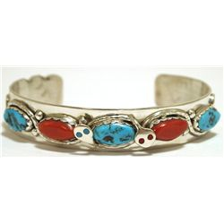 Zuni Coral & Turquoise Sterling Silver Snake Cuff Bracelet - Effie Calavaza